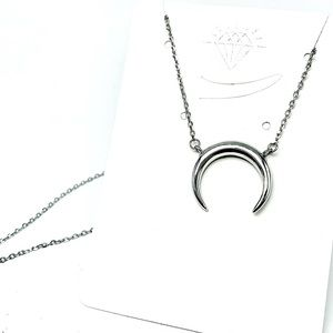 Sterling 925 silver crescent moon necklace